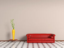 Couch and vase. Interior of minimalist room with couch and vase Royalty Free Stock Photo