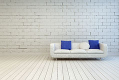 Couch With White and Blue Pillows at Living Room Royalty Free Stock Photography