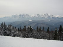 Couche blanche des montagnes de Caraiman Photographie stock libre de droits