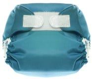 Couche-culotte bleue de tissu avec la fermeture de crochet et de boucle Images stock