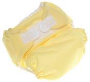 Couche-culotte jaune de tissu avec la fermeture de crochet et de boucle Photos libres de droits