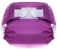 Couche-culotte pourprée de tissu avec la fermeture de crochet et de boucle Photos stock