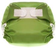 Couche-culotte verte de tissu avec la fermeture de crochet et de boucle Photographie stock libre de droits