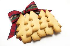 Couche de biscuits d'arbre de Noël avec la proue de Tartan Photo stock