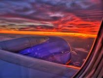 Coucher du soleil à 33,000ft Photos libres de droits