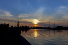 Coucher du soleil à Aalborg Image libre de droits