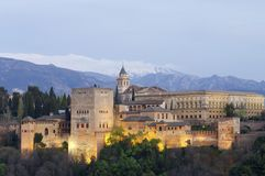 Coucher du soleil à Alhambra Photos stock