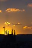 Coucher du soleil à Barcelone Images libres de droits