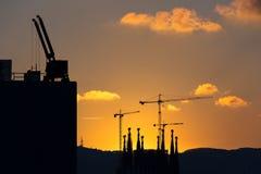 Coucher du soleil à Barcelone Photographie stock libre de droits