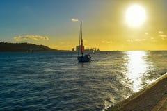 Coucher du soleil à Belem - au Portugal Photographie stock libre de droits