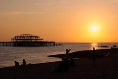 Coucher du soleil à Brighton photo libre de droits