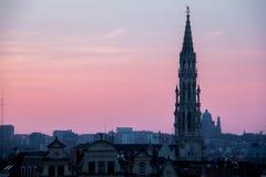 Coucher du soleil à Bruxelles, Belgique photo libre de droits
