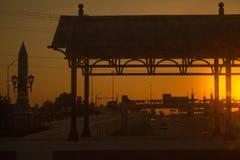 Coucher du soleil à Dallas Image stock