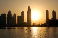 Coucher du soleil à Dubaï Images stock