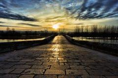 Coucher du soleil à Edirne Photographie stock