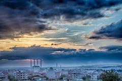 Coucher du soleil à Edirne Photos stock