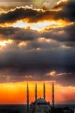 Coucher du soleil à Edirne Photo stock