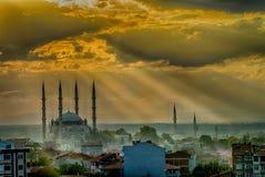 Coucher du soleil à Edirne Images stock