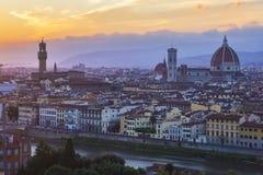Coucher du soleil à Florence, avec des vues panoramiques de la ville Photographie stock libre de droits