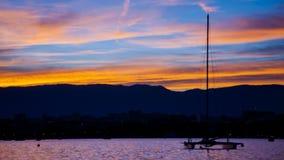 Coucher du soleil à Genève Image libre de droits