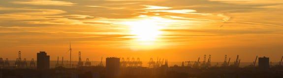 Coucher du soleil à Hambourg Photo libre de droits