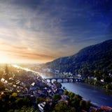 Coucher du soleil à Heidelberg Image libre de droits