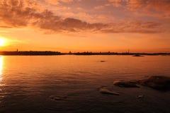 Coucher du soleil à Helsinki photo libre de droits