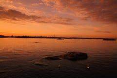 Coucher du soleil à Helsinki photo stock