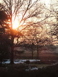 Coucher du soleil à Hilversum, Pays-Bas photographie stock