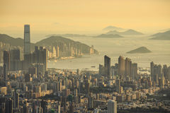 Coucher du soleil à Hong Kong Photos libres de droits