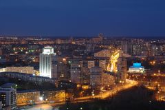 Coucher du soleil à Iekaterinbourg Photographie stock libre de droits