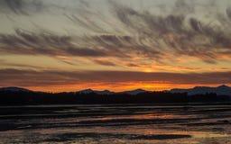 Coucher du soleil à Juneau Alaska image libre de droits