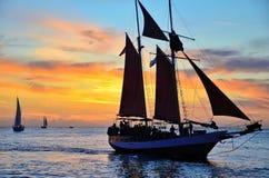 Coucher du soleil à Key West à la place du marché Photo stock