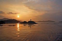 Coucher du soleil à l'île de putuo Photos libres de droits