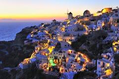 Coucher du soleil à l'île de Santorini Photographie stock libre de droits