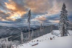 Coucher du soleil à l'altitude Photographie stock