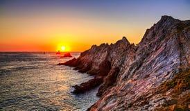 Coucher du soleil à l'extrémité du monde photos stock
