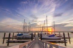 Coucher du soleil à la baie de Danga Photos stock