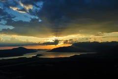 Coucher du soleil à la baie de Kotor Photographie stock