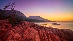 Coucher du soleil à la baie de lune de miel Image stock