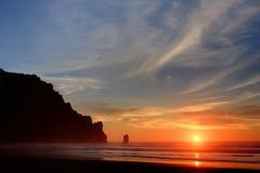 Coucher du soleil à la baie de Morro Image libre de droits