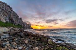 Coucher du soleil à la baie HDR de Morro Photos stock
