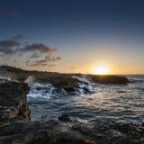 Coucher du soleil à la côte du nord Curaçao Images libres de droits