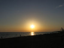 Coucher du soleil à la côte turque Image stock