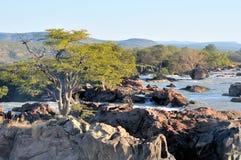 Coucher du soleil à la cascade à écriture ligne par ligne de Ruacana, Namibie Photographie stock libre de droits