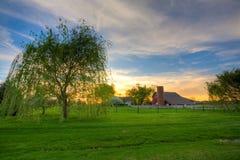Coucher du soleil à la ferme