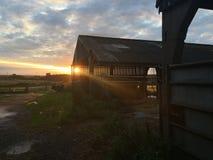 Coucher du soleil à la ferme en été Photos stock