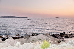 Coucher du soleil à la Mer Adriatique Photos libres de droits