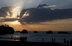 Coucher du soleil à la mer cantabre Photographie stock libre de droits