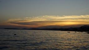 Coucher du soleil à la mer de la Croatie Photo stock